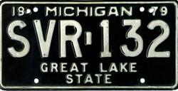 Michigan black license plate ran from 1979-1983. - JAYCARLCOOPER, WIKIMEDIA CREATIVE COMMONS