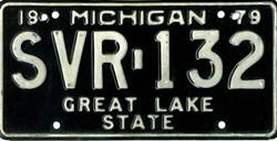Michigan black license plate ran from 1979-1983. - JAYCARLCOOPER, WIKIMEDIA CREATIVE COMMONS