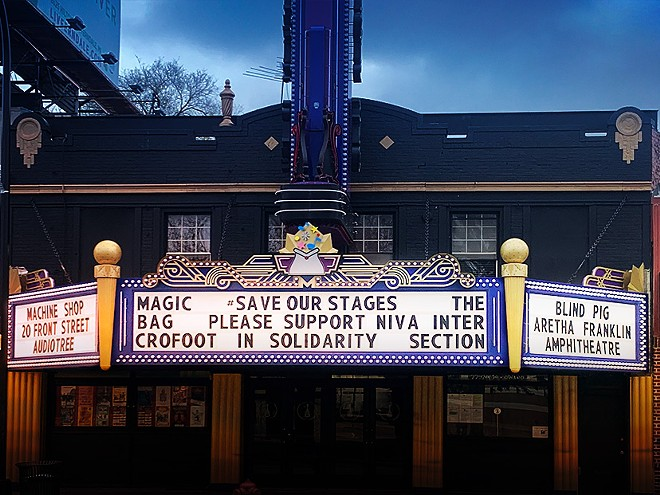 The marquee of Ferndale's Magic Bag. - JIM COHEN