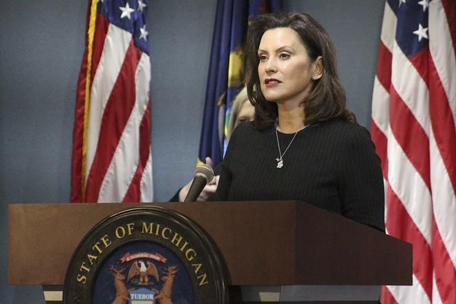 Gov. Gretchen Whitmer at a recent press conference. - STATE OF MICHIGAN