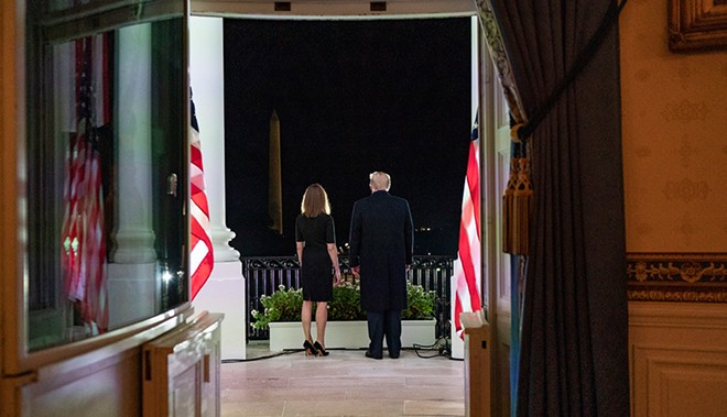 President Donald J. Trump and U.S. Supreme Court Associate Justice Amy Coney Barrett stand together on the Blue Room balcony Monday, Oct. 26, following Justice Barrett's swearing-in ceremony on the South Lawn of the White House. - PUBLIC DOMAIN, THE WHITE HOUSE