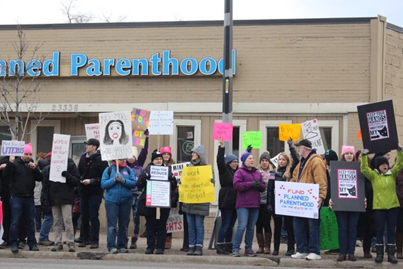 Protestors supporting Planned Parenthood in Ferndale. - JULIA PICKETT