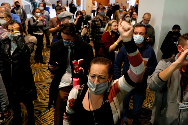 Supporters of President Donald Trump interrupted the ballot-counting process at Detroit's TCF Center on Nov. 4. - DEVI BONES / SHUTTERSTOCK.COM