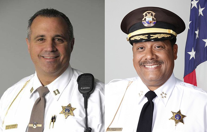 Macomb County Sheriff Anthony Wickersham (left) and Wayne County Sheriff Benny Napoleon. - MACOMB COUNTY/WAYNE COUNTY SHERIFF'S OFFICES