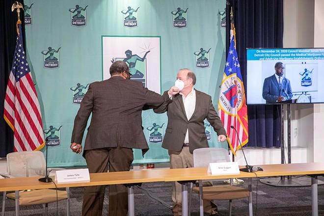 Detroit Councilman James Tate, left, and Mayor Mike Duggan. - CITY OF DETROIT, PUBLIC DOMAIN