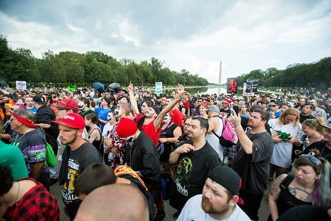 "In 2017 Insane Clown Posse held a ""March of the Juggalos,"" a peaceful protest in Washington, D.C. that drew more than 1,500 fans to challenge the FBI designation's of the group as a ""hybrid gang."" They were better behaved than Trump supporters. - NICK HAYES"