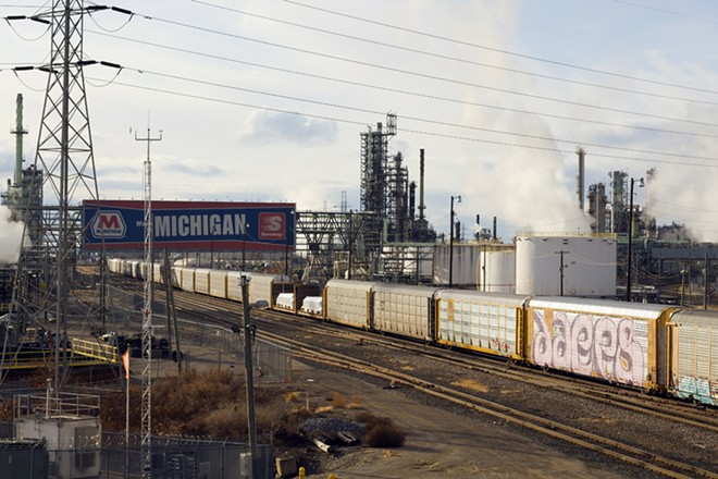 Marathon's oil refinery in Southwest Detroit. - STEVE NEAVLING