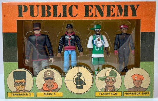 """Public Enemy: Terminator X, Chuck D, Flavor Flav, and Professor Griff,"" action figures, 2020. - IMAGE COURTESY OF THE BLACK HISTORY 101 MOBILE MUSEUM"