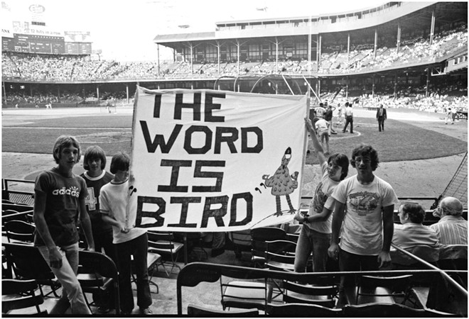 "Tigers fans show their love for rookie sensation Mark ""The Bird"" Fidrych at Tiger Stadium in the bicentennial summer of '76. - TOM HAGERTY"