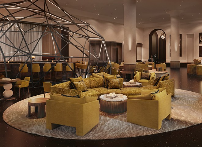 A rendering showing Madam's fanciful lounge, including a geodesic dome. - COURTESY OF NJF PR