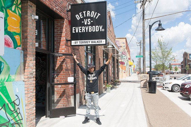 Tommey Walker at his Detroit vs. Everybody shop in Eastern Market. - ALYSON WILLIAMS