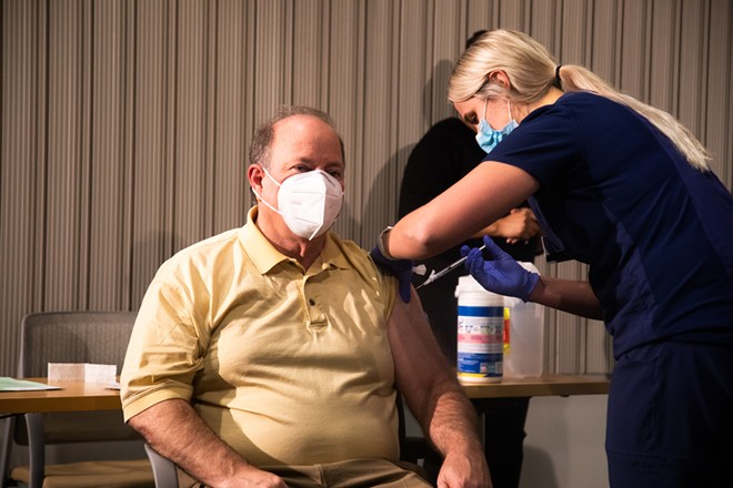 Detroit Mayor Mike Duggan got vaccinated for COVID-19 at a televised news conference as part of a campaign to build trust in the state's Black communities. - CITY OF DETROIT