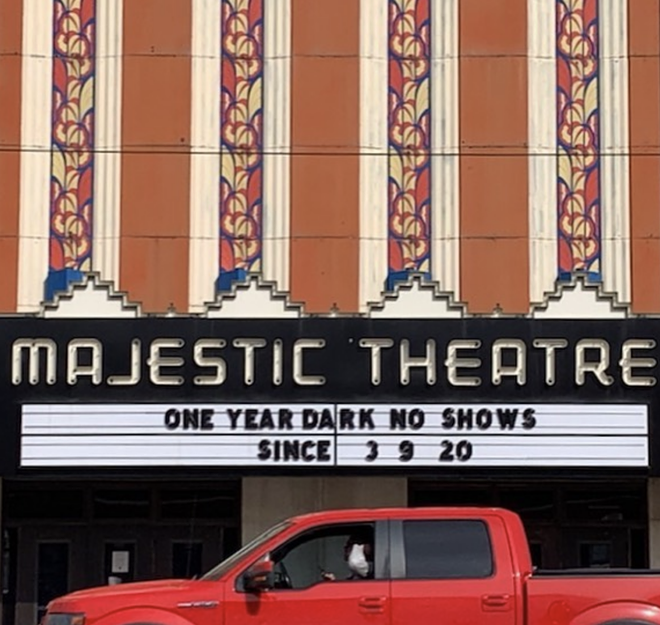 A sign on Detroit's Majestic Theatre marks one year without live music due to the pandemic. - JIM COHEN