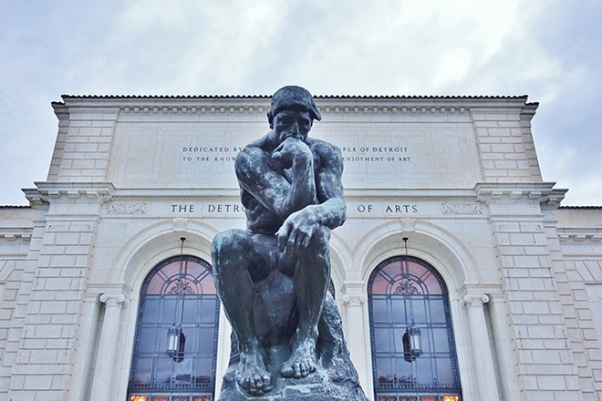 """""""The Thinker"""" sculpture by Auguste Rodin ponders outside the Detroit Institute of Arts. - EQROY / SHUTTERSTOCK.COM"""