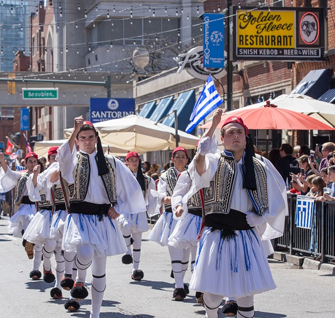 The 15th Annual Greek Independence Day Parade in Greektown, downtown Detroit. Folk dancers march down Monroe Avenue in traditional dress. April 17, 2016. - LEAH CASTILE, DETROIT STOCK CITY