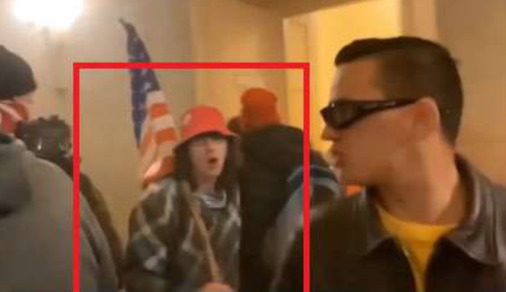 Jeramiah Caplinger inside the U.S. Capitol during the Jan. 6 insurrection. - FBI