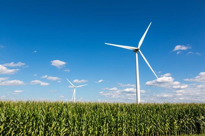 A wind farm in Michigan. - SHUTTERSTOCK