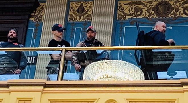 Armed protesters stormed the Michigan Capitol building in April 2020. - SEN. DAYNA POLEHANKI TWITTER ACCOUNT @SENPOLEHANKI