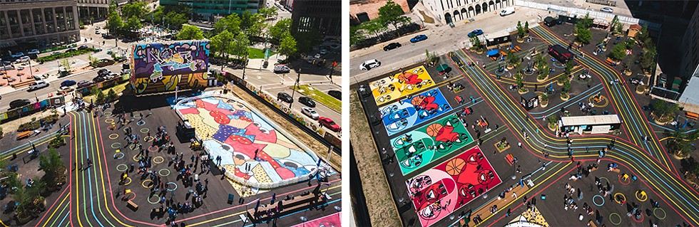 The Monroe Street Midway includes an outdoor roller rink designed by Sheefy McFly and basketball courts designed by artist Phillip Simpson. - COURTESY OF BEDROCK DETROIT