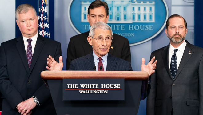 Dr. Anthony Fauci, center, is the Trump whisperer. - OFFICIAL WHITE HOUSE PHOTO BY ANDREA HANKS