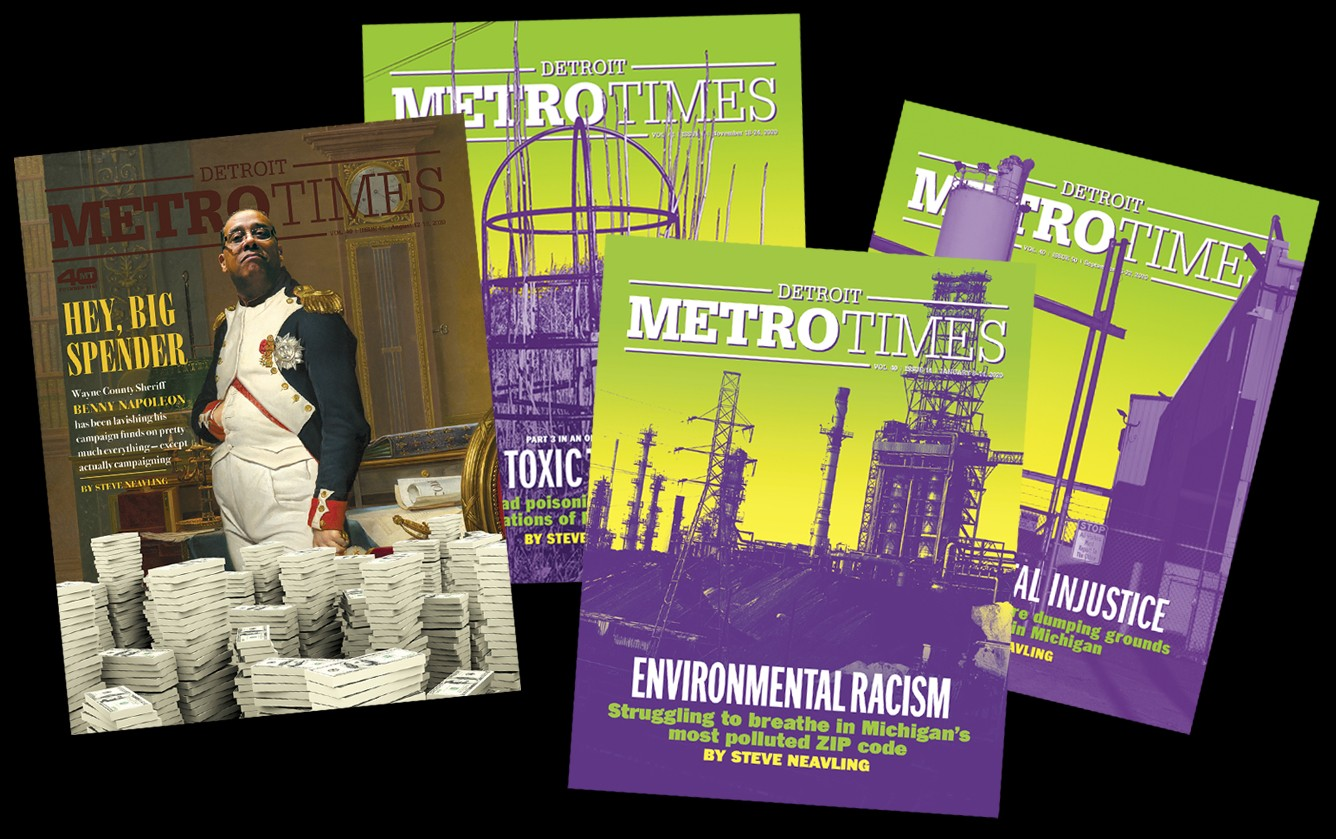 The covers from Metro Times's SPJ award-winning stories. - METRO TIMES ARCHIVES