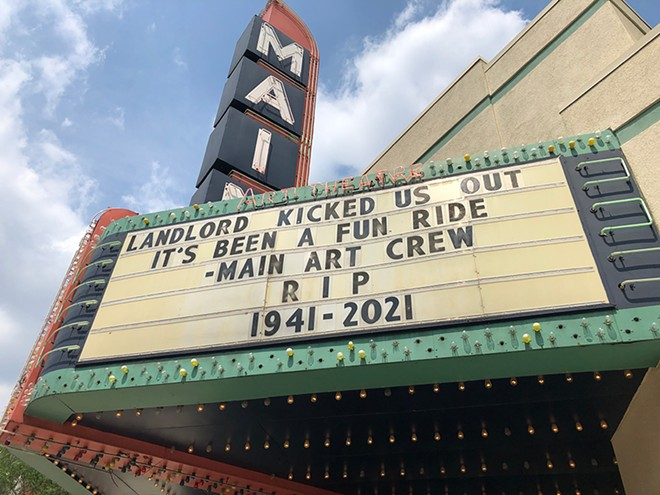 Royal Oak's longstanding Main Art Theatre is no more, according to its marquee. - LEE DEVITO