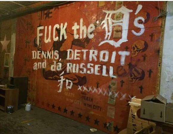 Anti-Dennis Kefallinos graffiti scrawled across a mural at the Russell Industrial Center - FACEBOOK.