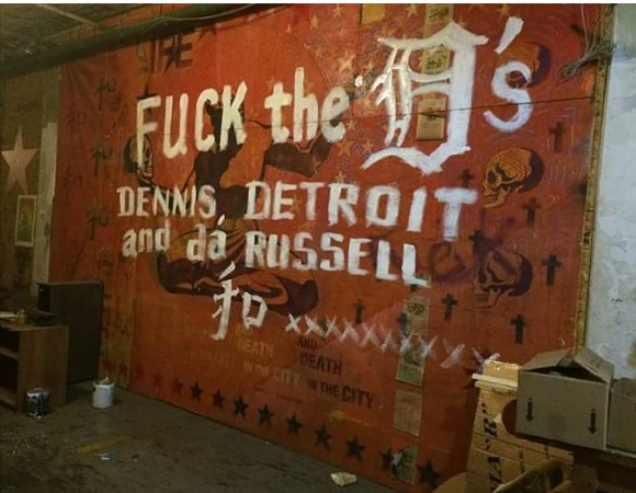 Anti-Dennis Kefallinos graffiti scrawled across a mural at the Russell Industrial Center - FACEBOOK.