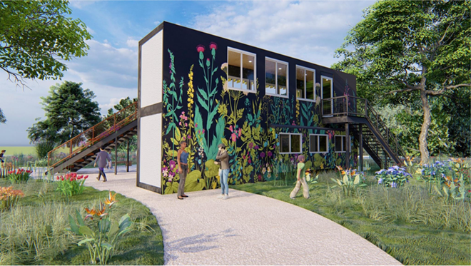 A rendering showing Bees in the D's proposed community garden and pollination center. - COURTESY OF BEES IN THE D