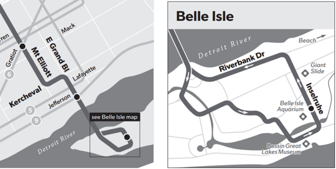 The #12-Conant route on belle Isle. - IMAGE FROM DDOT ROUTE MAP AND TIMETABLE