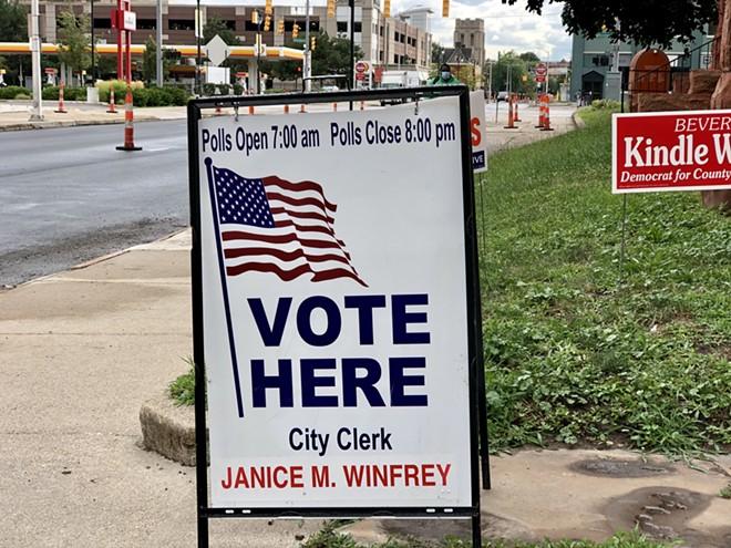 Election sign in Detroit. - STEVE NEAVLING