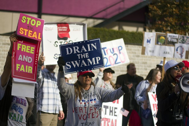 Supporters of former President Donald Trump rallied in Detroit in November, claiming widespread election fraud. - STEVE NEAVLING