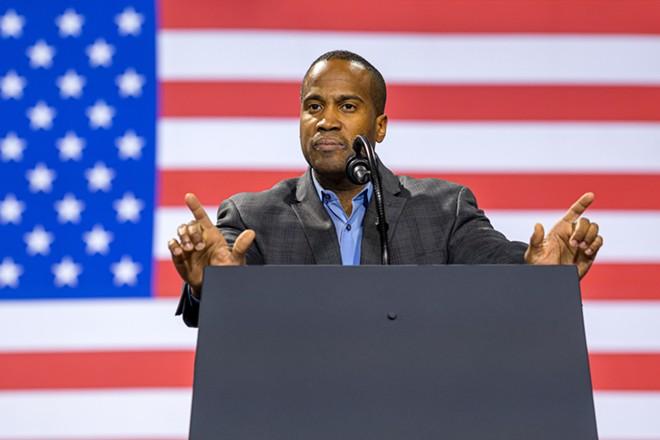 John James, a Republican, speaks at a rally in Battle Creek in December 2020. - SHUTTERSTOCK