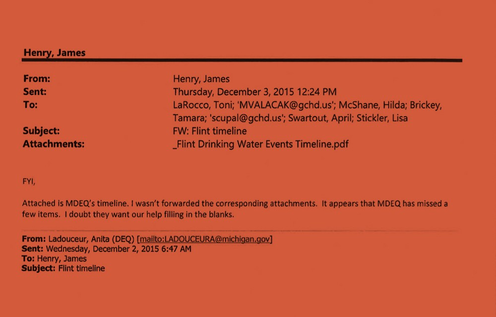 An email Genesee County Health Department official Jim Henry sent to colleagues inferring that the state environmental department's timeline of its role in the Flint water crisis selectively left out important details. - OBTAINED BY THE INTERCEPT