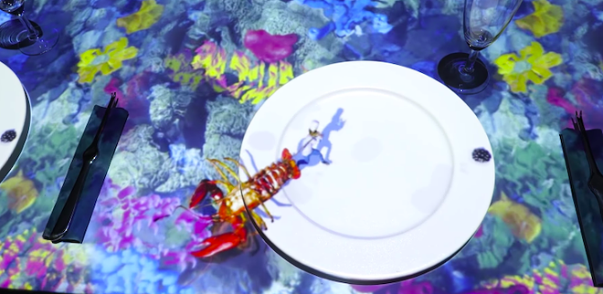 ImaginATE Restaurant incorporates 3D projection mapping, developed by Skullmapping, into its chef's table dining experience. - PHOTO VIA SKULLMAPPING/YOUTUBE