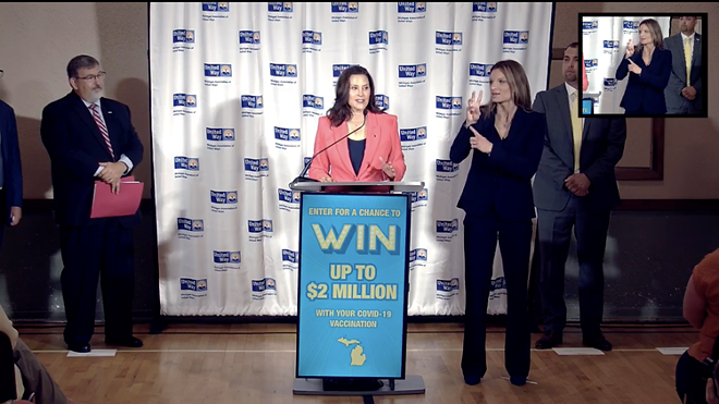 Gov. Gretchen Whitmer announced a vaccine lottery with a goal to increase COVID-19 vaccinations by 9% — by July 30, Mich. only had a 2% increase. - PHOTO VIA SCREENSHOT OF STATE HEALTH DEPARTMENT'S LIVE STREAM, JULY 1, 2021