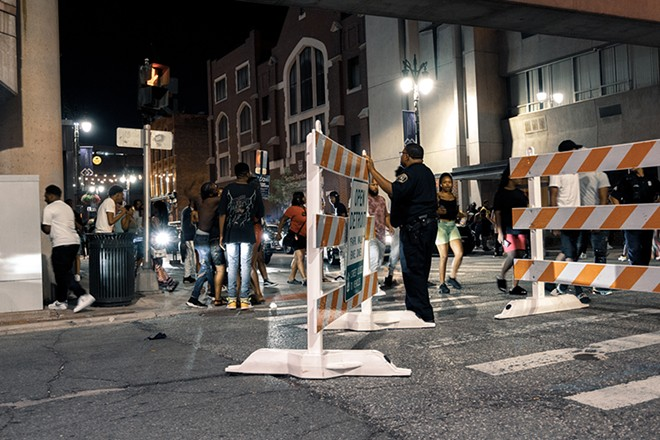 Detroit's Greektown has been a site of heavy police presence. - SE7ENFIFTEEN