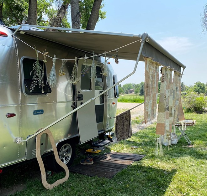 Detroit artist Kayla Powers traveled the country in a mobile studio, making dyes from plants and other items she foraged.  - COURTESY PHOTO