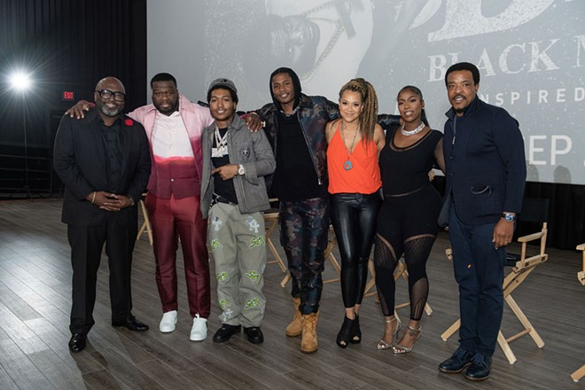 """From left: BMF cast and crew Randy Huggins, Curtis """"50 Cent"""" Jackson, Demetrius """"Lil Meech"""" Flenory Jr., Da'Vinchi, Michole Briana White, Arkeisha """"Kash Doll"""" Knight, and Russell Hornsby. - ROBERT BRUCE"""