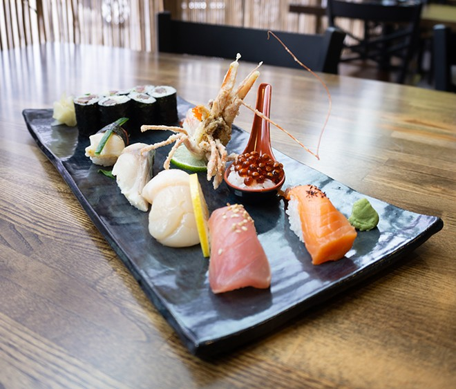A fanciful plate of sushi prepared by Sozai's chef-owner Hajime Sato. - SE7ENFIFTEEN