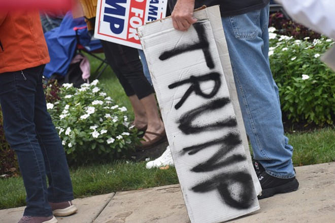 """A misspelled Trump sign at the right-wing rally calling for a so-called """"audit"""" of the 2020 election at the Michigan Capitol, Oct. 12, 2021. - LAINA G. STEBBINS"""