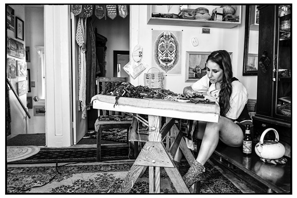 Wood at work in her Hamtramck home studio. - PHOTO BY ROY FELDMAN