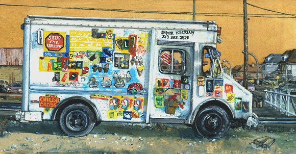 A Hamtramck ice cream truck. - PAINTING BY EMILY WOOD