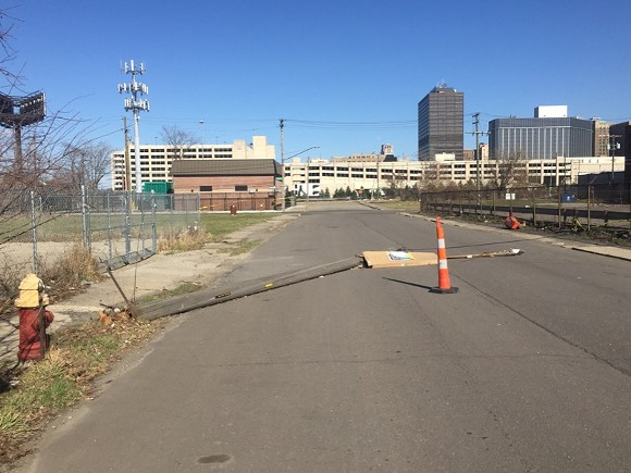 High winds downed a utility pole on W. Elizabeth street in Corktown.