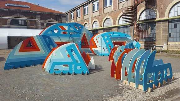Modular set pieces by Akoaki, part of the Out of Site courtyard installation. - SARAH ROSE SHARP