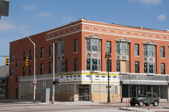 The Wilda's building, which is under renovation at Woodward Avenue and West Grand Boulevard. - PHOTO BY TOM PERKINS