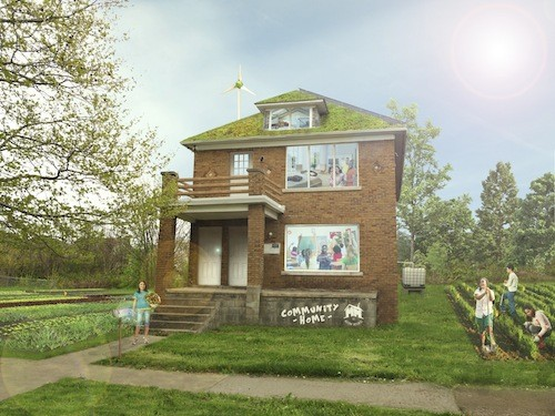 An artist's rendering of the Ford Street house after a sustainability makeover. - COURTESY THE MOTOWN MOVEMENT