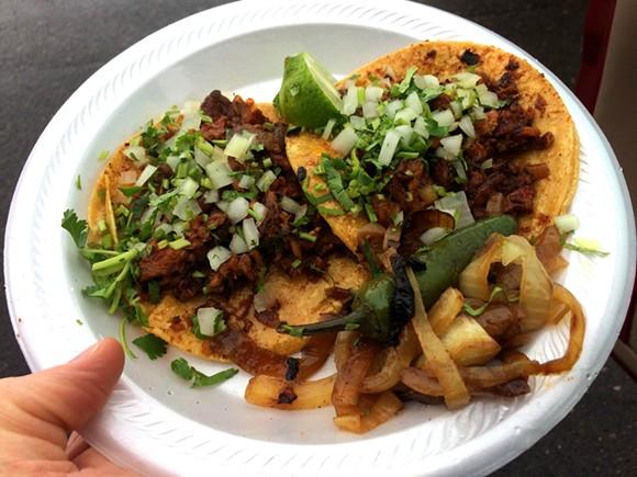 Tacos al pastor at El Parian taco truck in Southwest Detroit. - PHOTO BY TOM PERKINS