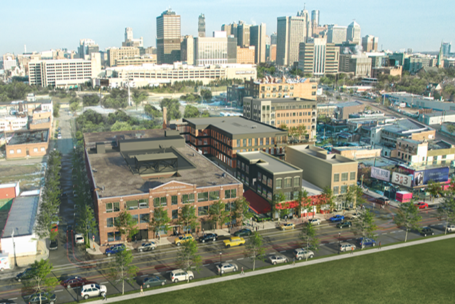 A rendering of the Elton Park development as seen from Trumbull Ave just north of Michigan Ave. - VAN DYKE-HORN PUBLIC RELATIONS