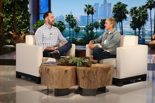 Joe Dombrowski and Ellen Degeneres. - MICHAEL ROZMAN/WARNER BROS.
